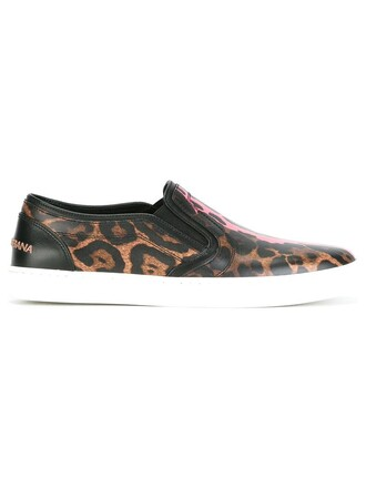 women sneakers leather print brown leopard print shoes