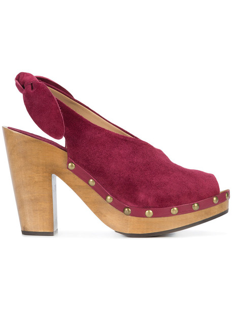 Ulla Johnson wood open women mules leather purple pink shoes