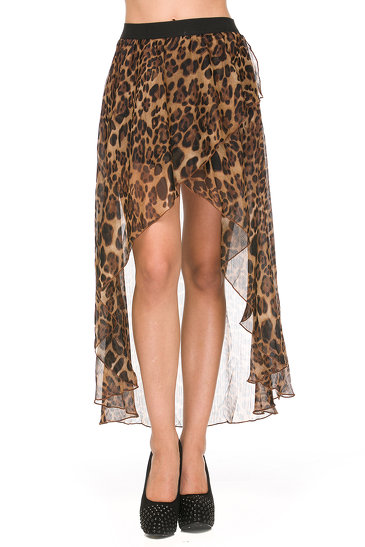 FOREIGN EXCHANGE | BROWN LEOPARD HIGH LOW MAXI SKIRT