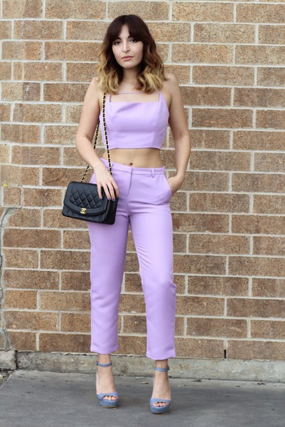 the stylish soul blogger cropped pants two-piece crop tops lilac platform sandals bag