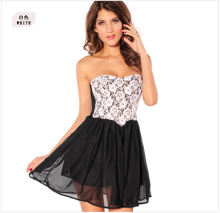 Sweet Lace Pattern Pleated Cotton Homecoming Dress - White on Luulla