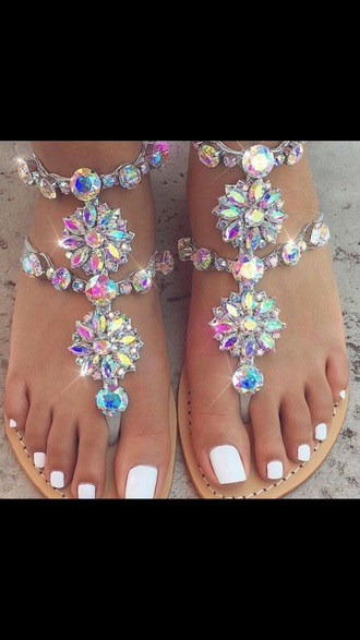 shoes flat sandals rhinestones rainbow
