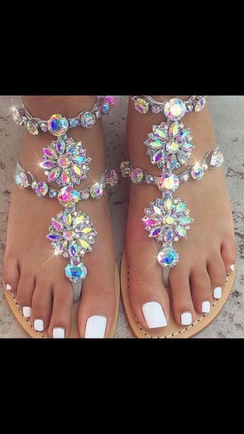f28e4e617 shoes flat sandals rhinestones rainbow
