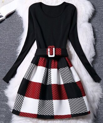 dress plaid fashion black red white women's chic belted long sleeve scoop neck plaid dress fall outfits trendy long sleeves rosegal-dec