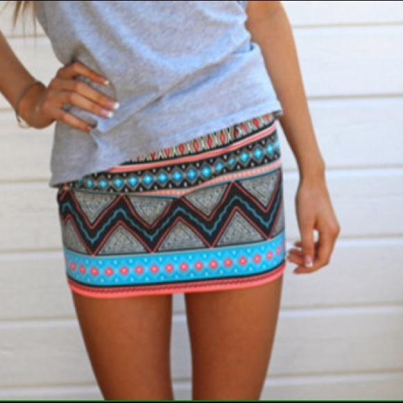 Zara aztec tribal print pattern bodycon mini skirt from damaris's closet on poshmark