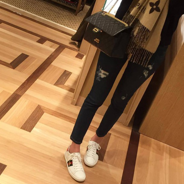 f10a0d6a6 shoes gucci ace sneakers gucci gucci shoes white sneakers sneakers low top  sneakers jeans ripped jeans