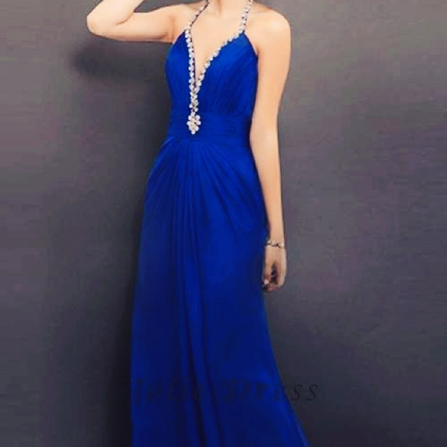 Halter floor length A-line chiffon prom dress