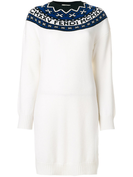 Fendi - color block dress - women - Wool/Cashmere - 42, White, Wool/Cashmere