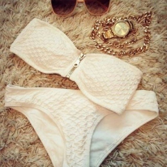 swimwear white patterned bikini bottoms pattern zipper zipper bikini sunglasses jewels