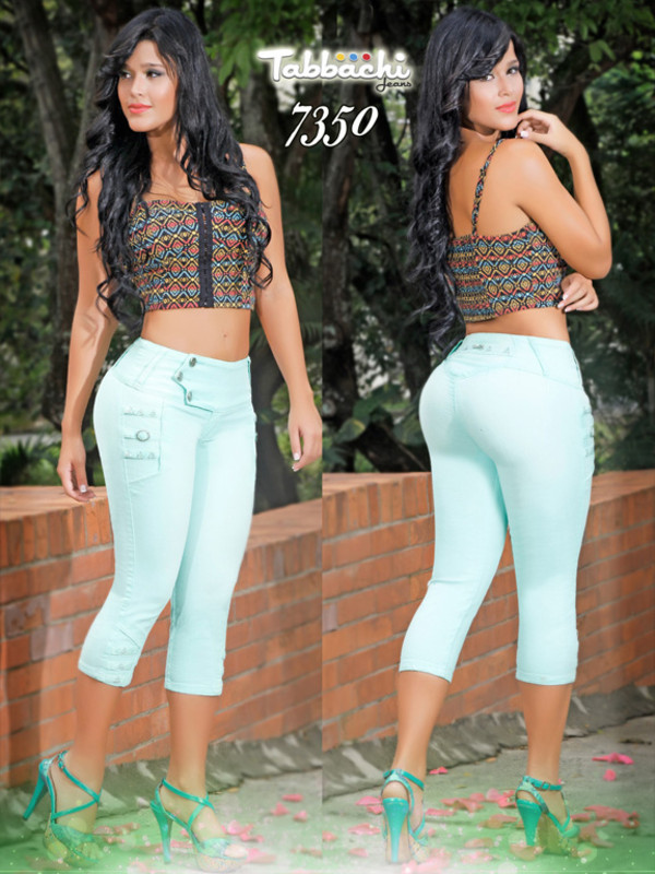 jeans yallure yallure.com fashion fashionista sexy light blue colored colored pants capris capri pants