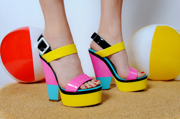 shoes high heels colorblock pink yellow light blue