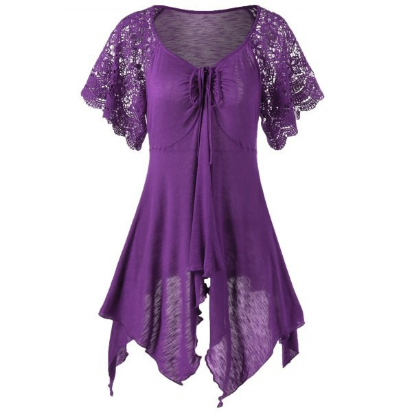 Rosewholesale Plus Size Lace Sleeve Self Tie Handkerchief Top in purple