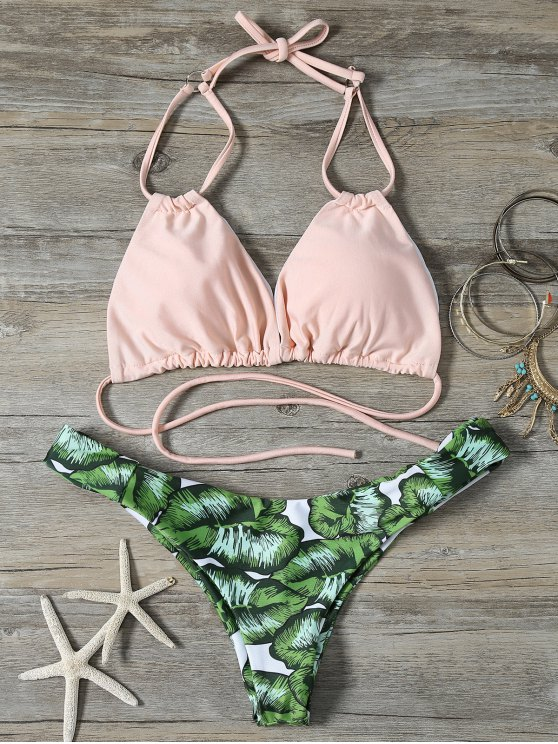 String Low Cut Tropical Print Bikini Set
