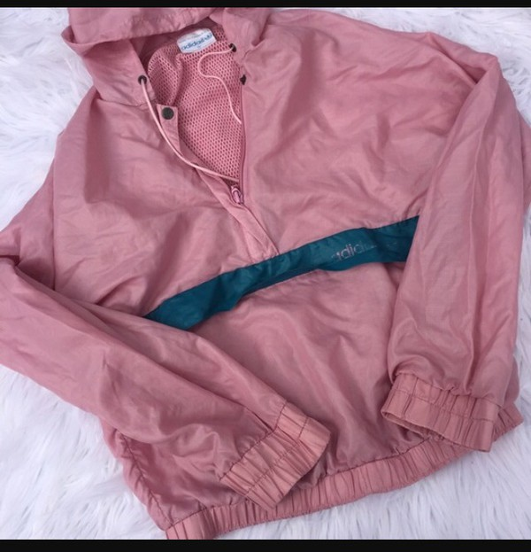 Adidas pink wind breaker size large Adidas women's size