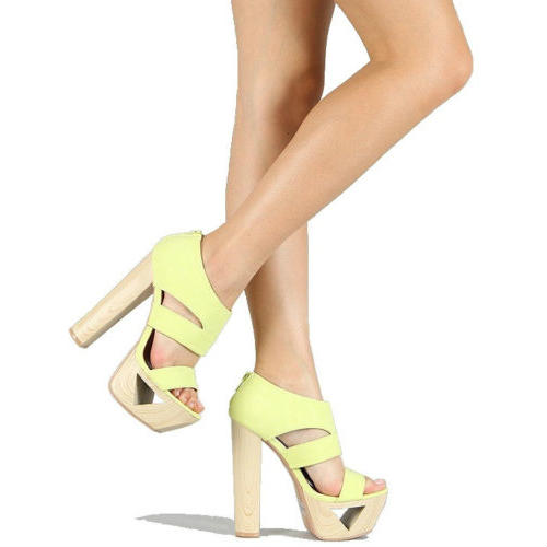 Lakie-16 Neon Wood Platform Sandals Thick Heel