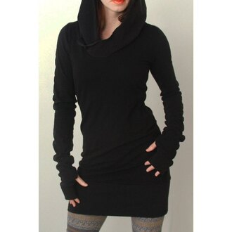 sweater rose wholesale sweatshirt hoodie black casual goth all black everything dress long sleeves warm black hooded long sleeve dress cool fall outfits stylish fashion