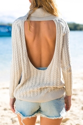 sweater,open back,fall outfits,cut-out,style,fashion,long sleeves,knitwear,warm,cozy,turtleneck,beige,nude,trendy,outfit,white dress,white lace dress,white t-shirt,white sweater,lapel shirt,embellished lapel,backless dress,backless prom dress,backless sweater,long sleeve dress