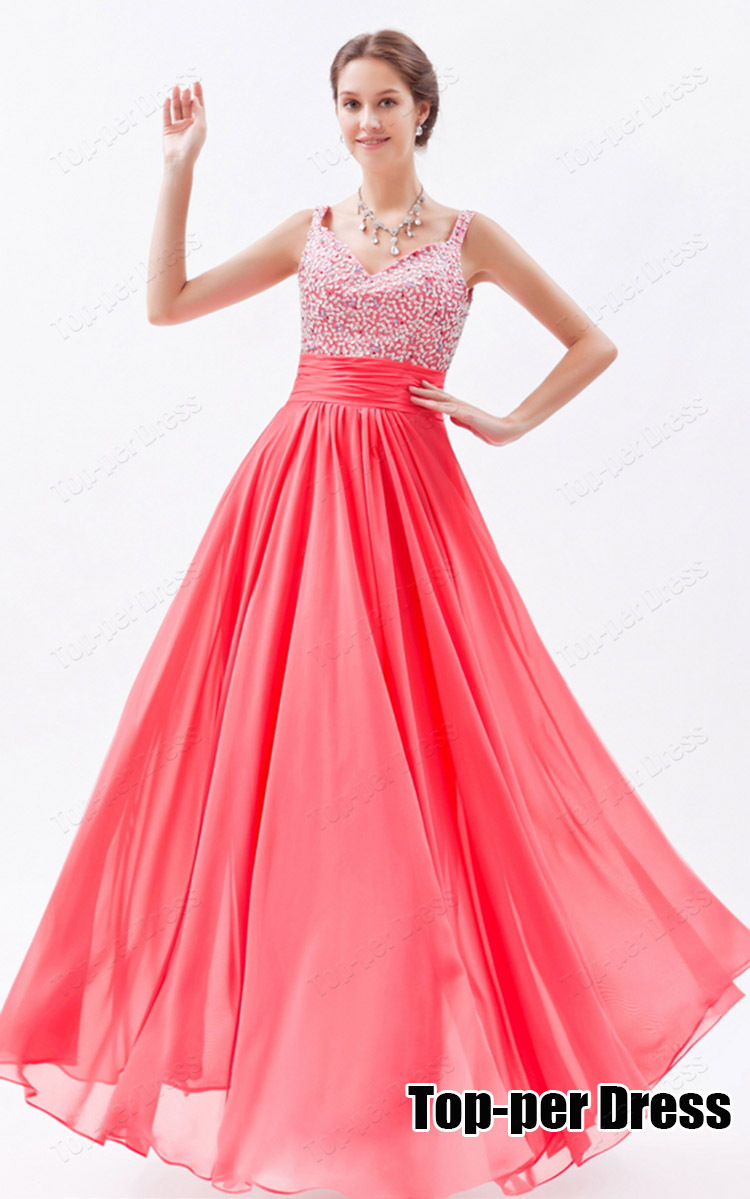 Aliexpress.com : Buy Coral Long Backless Prom Dresses 2015 Crystal ...