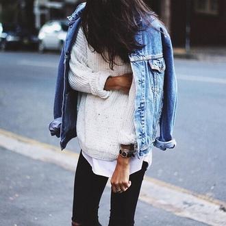 sweater white denim jacket
