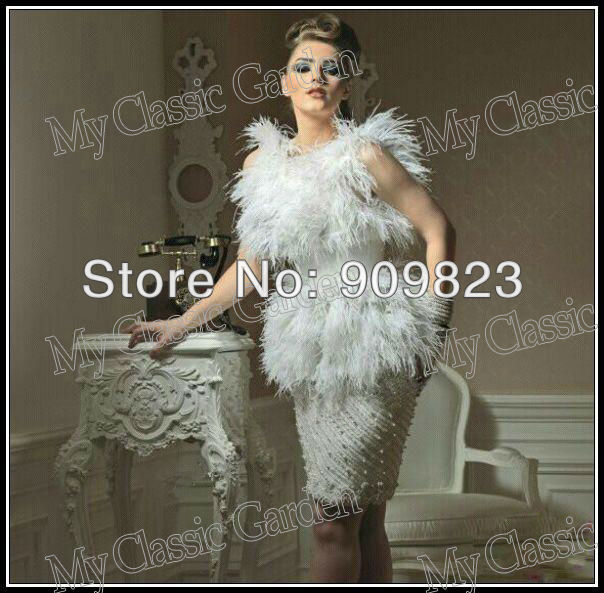 Aliexpress.com : buy fashion myriam fares friend scoop neck top ostrich feather beaded pearl knee length elegant celebrity cocktail dress gowns from reliable dress sleeveless suppliers on my classic garden