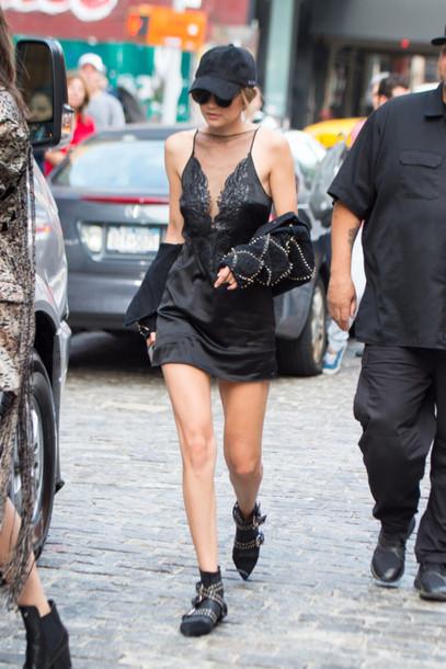 d7bac6d219d9 dress slip dress black dress studded shoes lace dress black lace dress gigi  hadid model