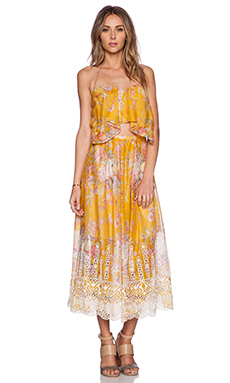 Zimmermann Confetti Scallop Tie Dress in Mustard Floral from Revolve.com