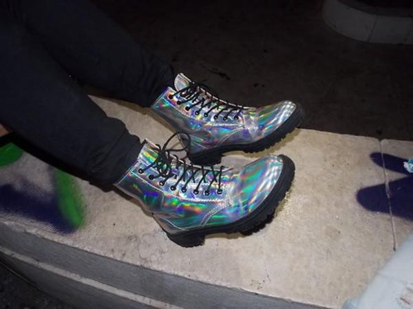 shoes boots holographic shoes holographic boots holographic combat boots metallic