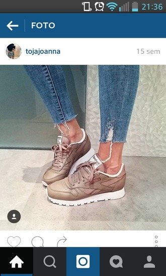shoes nude reebok reebok classic leather beige brown leather boots sneakers fashion shoes