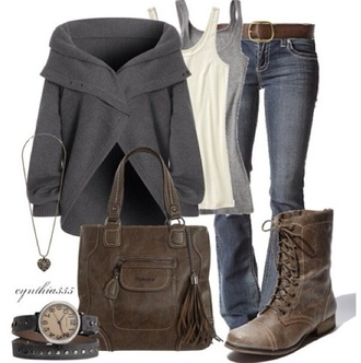 coat brown leather boots grey fall sweater off the shoulder grey sweater knitted cardigan pinterest fall outfits