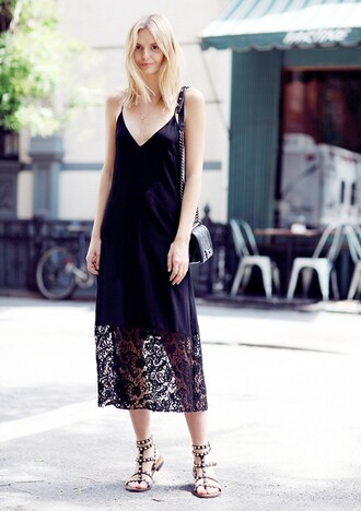 dress slip dress black dress maxi dress black maxi dress lace dress summer dress summer outfits sandals gladiators black sandals tuula blogger top blogger lifestyle spaghetti strap midi dress flat sandals bag black bag chanel bag chanel