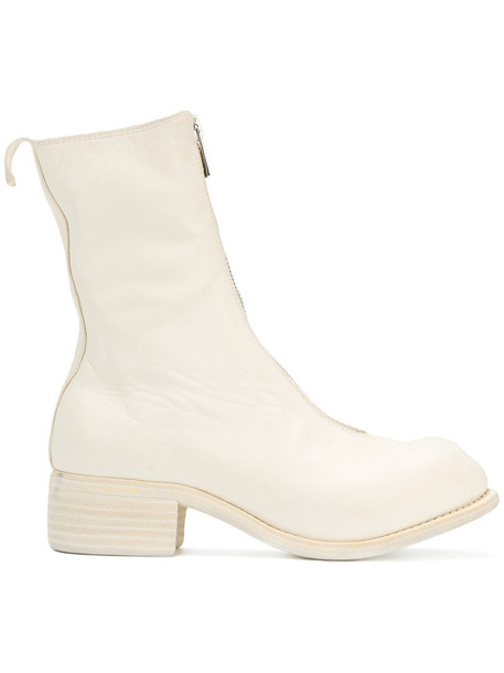 Guidi zip high women leather white shoes