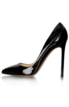 Black Pointy Toe Stiletto High Heels with Red Sole