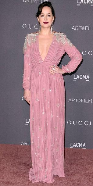 dress dakota johnson gown pink dress maxi dress