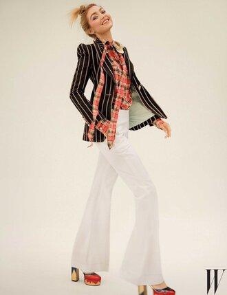 pants flare pants shirt editorial jacket blazer gigi hadid sandals platform sandals