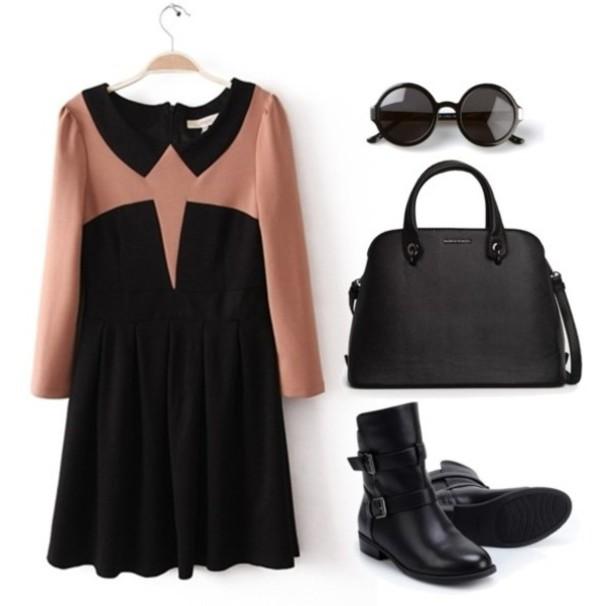 dress elegant dress elegant fashion handbag boots outfit pretty girl