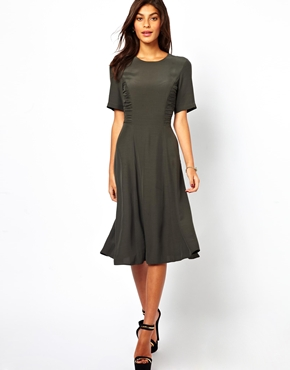ASOS | ASOS Midi Dress With Ruched Side Detail at ASOS