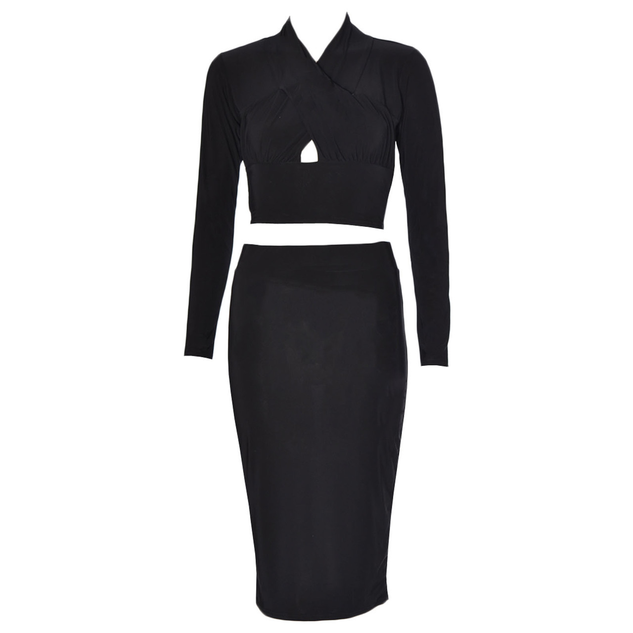 Women Cross Front Crop Top And Midi Skirt Two Piece Set Black 6-12