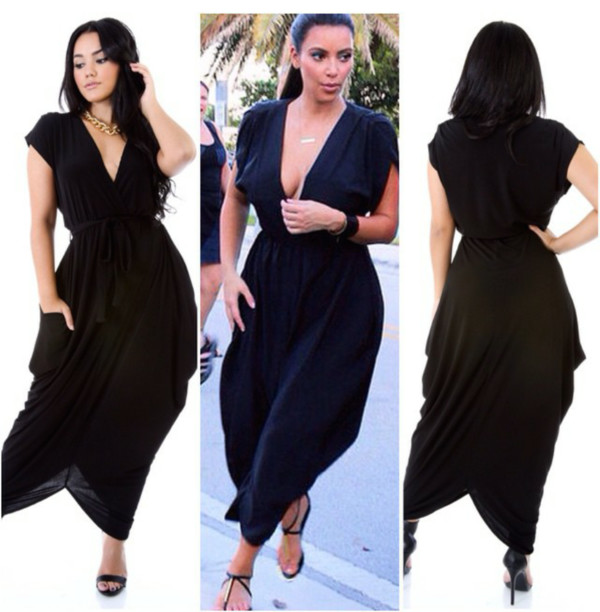 kim kardashian black long dress sleeveless dress olive green