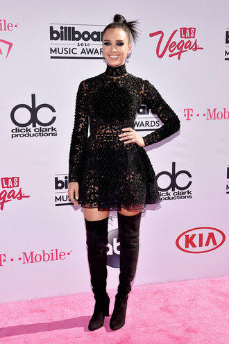 dress lace dress jessica alba over the knee boots billboard music awards turtleneck turtleneck dress black dress all black everything shoes