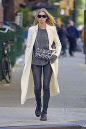 sweater,elsa hosk,model off-duty,pants,sunglasses,coat,fall outfits,streetstyle,purse