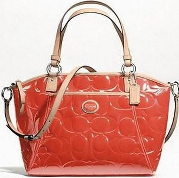 New Coach 20028 Peyton Patent Leather Bag Persimmon Purse Pocket Tote | eBay