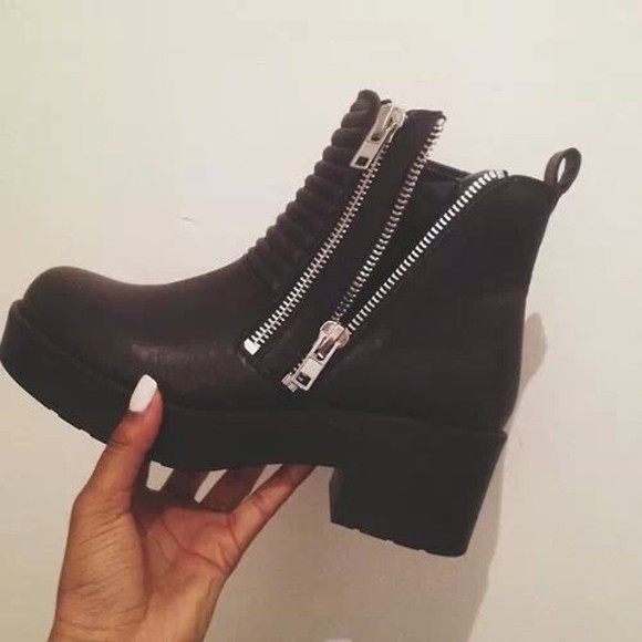 shoes boots black zipper leather zip leather boot silver platform high heels platform boots zips black, zipper black, black boots, zipped, booties