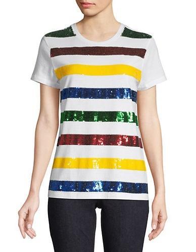 HBC Stripes x Color Me Courtney Women's Sequin Striped T-Shirt - White - Size S
