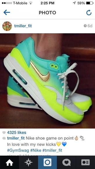shoes gold nike free run nike running shoes mint green shoes neon yellow shoes