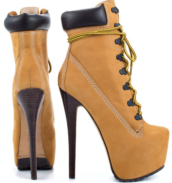 Shop Fashion Lace up Tan Nubuck Ankle Boot Platform Heel Boot ...