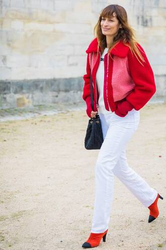 pants white pants white trousers red jacket jacket red boots chanel boots chanel black bag bag