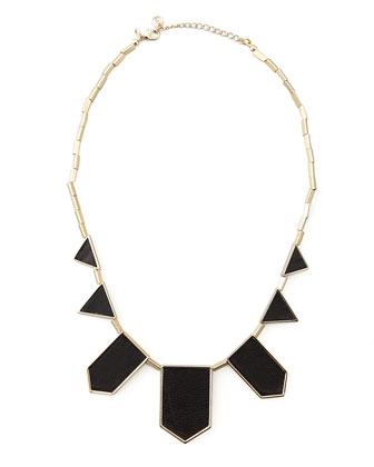 House of Harlow | Geometric Leather-Inlay Station Necklace, Black - CUSP