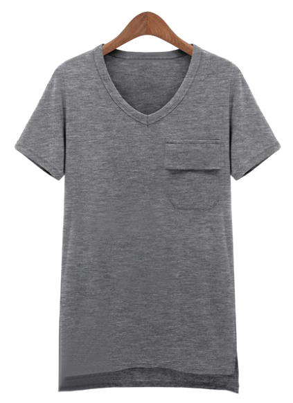 T-Shirt asymétrique avec poche -gris