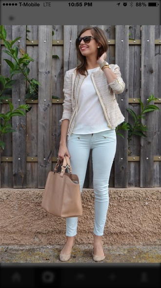 jacket gold zippers grey jacket style similar to the photo shown same as the picture pants blouse coat