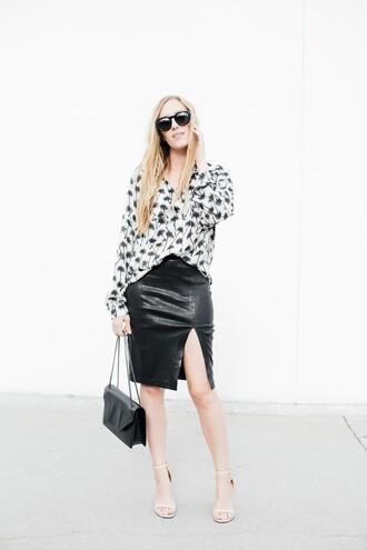 eat sleep wear blogger skirt palm tree leather skirt black leather skirt slit skirt black leather bag